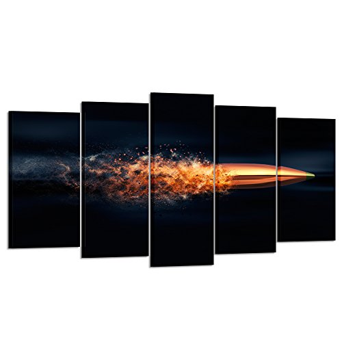 - Kreative Arts - Flying Bullet with Dust Trail Canvas Print Pictures Framed Modern Contemporary Paintings on Canvas Posters and Prints Wall Art for Living Room Decor 5 Piece Set (Large Size 60x32inch)