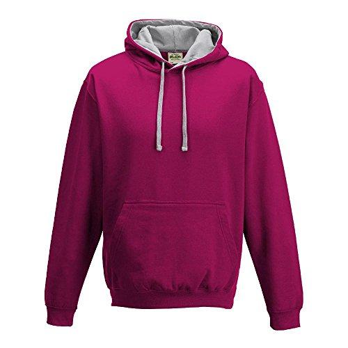 Just Hoods Varsity - Sudadera unisex con capucha, dos colores Hot Pink/Heather Grey