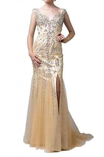 Toscana noche de noche de lujo Ranura Mode Vestidos de novia de largo Satin Princesa novia Vestidos beige 46