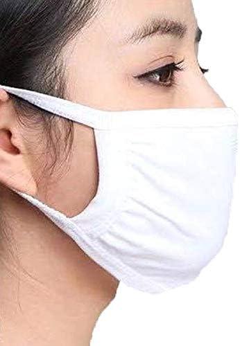 Máscara de boca de algodón ajustable antipolvo, color blanco o negro para correr, ciclismo, camping, lavable, reutilizable, 2 capas (blanco)