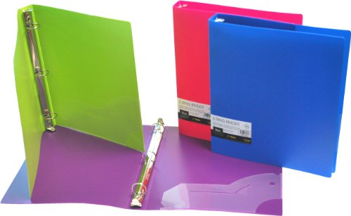 Filexec 3 Ring Binder, 1 Inch Capacity, Opaque, Letter size, Pack of 4, Blue, Hot Pink, Purple, Green - Binder 1 Ring 3 Inch