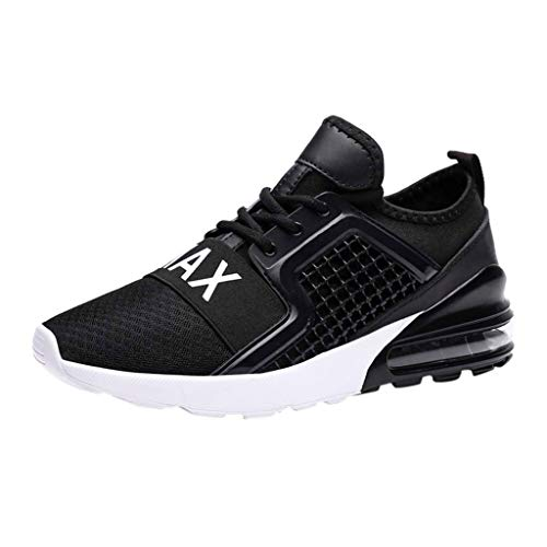 Men's Athletic Sneakers Summer Mesh Breathable Lightweight Shoes Casual Air Cushion Slip On Running Workout Gym Sock Shoe (Black, US:10.5) by Cealu (Image #1)