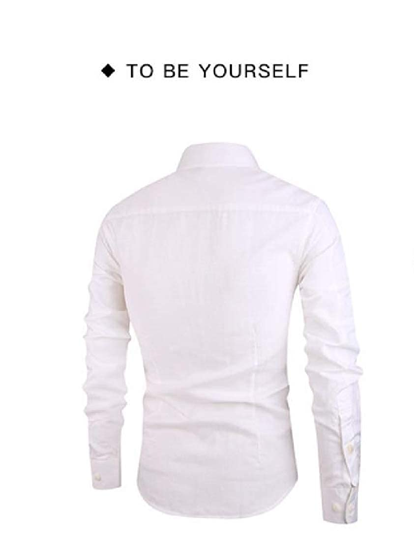 Fseason-Men Button Down Stylish No-Iron Fit Pure Colour Western Shirt