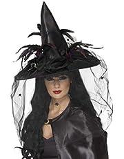 Smiffys-33786 Sombrero de Bruja, con Plumas y Tul, Deluxe, Color Negro, Tamaño único (Smiffy'S 33786)