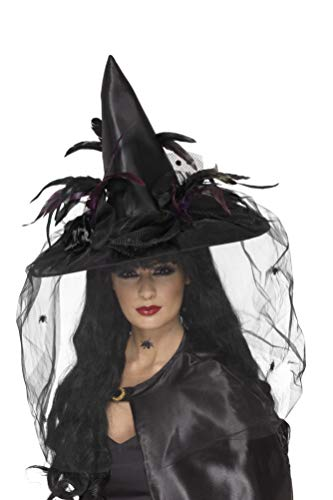 Smiffys Women's Witch Hat with Feathers and Netting, Black One Size, 33786 -