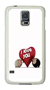 VUTTOO Rugged Samsung Galaxy S5 Case, I Love You Funny Sheep PC Plastic Hard Case Cover for Samsung Galaxy S5 I9600 PC White