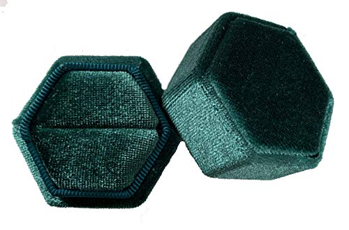The Lux Box: Gorgeous Antique Velvet Geometric Ring Boxes for Proposals and Wedding Photos || Hexagon and Oval || Single or Double Rings || Fits Wide & Slim Bands (Emerald Green Hexagon Single Ring)
