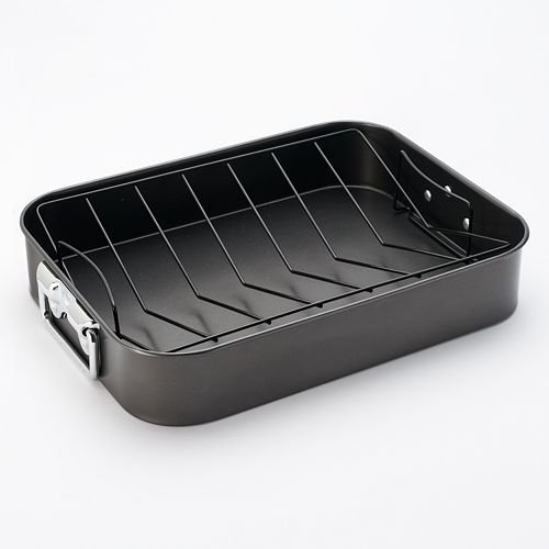 Basic Essentials Roaster With V-Rack - Non-stick Steel - 16 x 12x 3 Inch