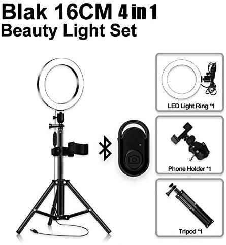携帯電話スタンドとYouTubeビデオライブストリーミングのための三脚3モードリング蛍光灯キットNeewer LEDリングライト,黒,16CM