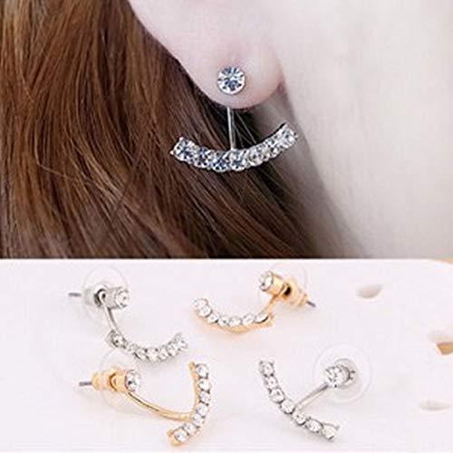 Lindsie-Box - Lovely Girls Exquisite 2 color Zircon Solid geometric Leaf Ear Clips Stud Earrings Women Trending Jewelry
