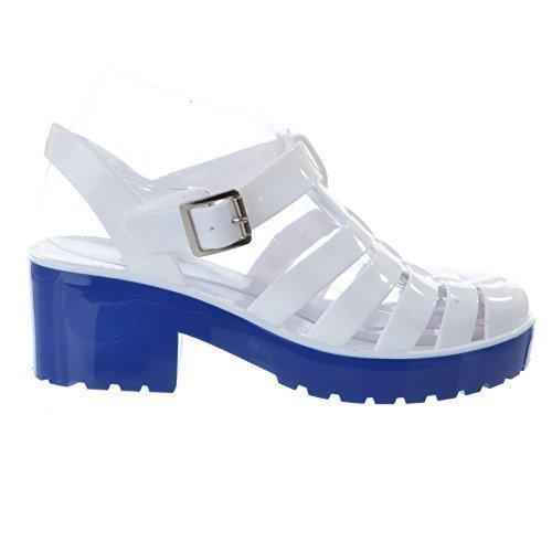 Bloc UK Taille blanc semelle Gelé Talon Miss Chaussure Été Bicolore Sandales Image Gladiateur Femmes Rétro bleu Bn5w45fq7P
