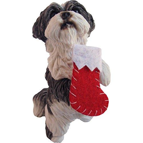 Sandicast Silver and White Shih Tzu Holding Stocking Christmas Ornament