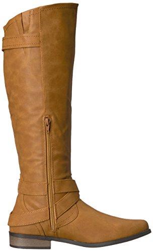 Hansel Cognac Knee and High Zipper Women's Smooth Rampage Smooth Cognac Buckle Sn Boot Riding 4AqP5xU