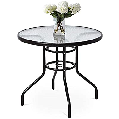 "Tangkula Patio Table 32"" Tempered Glass Top Metal Frame Outdoor Garden Poolside Balcony Dining Bistro Table (Clear)"