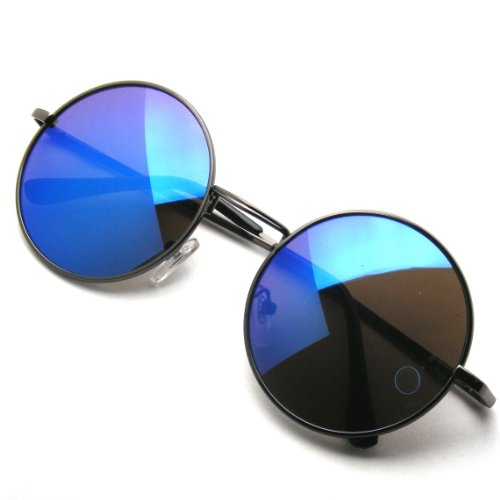 John Lennon Inspired Sunglasses Round Hippie Shades Retro Colored Lenses (Blue - Blue Glasses Hipster