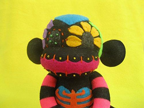 Pink Sugar Skull Sock Monkey DIY Kit - Black Body - Handmade Plush Doll - Dia de los Muertos - Day of the Dead from PumpkinBones