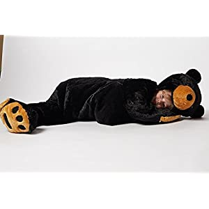 Snoozzoo The All New Children Black Bear Sleeping Bag for Children up to 54 inches Tall.