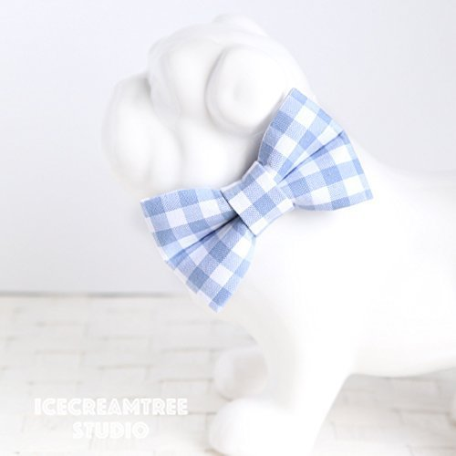 Periwinkle Blue Gingham Check - Bow Tie Collar Slide On, Collar Add On Bowtie, Bow Collar Accessories