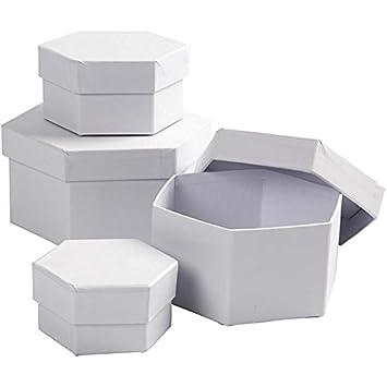 Cajas hexagonales, dia: 6,5+8+10+12 cm, A. 4+5+6+7 cm, 4ud ...