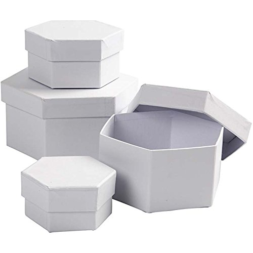 Cajas hexagonales, diámetro 6,5+8+10+12 cm, 4 unidades: Amazon.es: Amazon.es