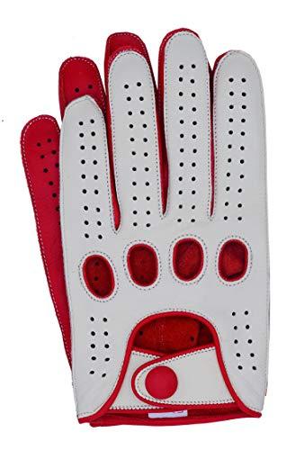 Riparo Genuine Leather Reverse Stitched Full-Finger Driving Gloves (Medium, White/Red)