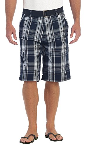 - Gioberti Mens Plaid Shorts with Belt, 5 Pockets, Navy/Arctic, Size 30