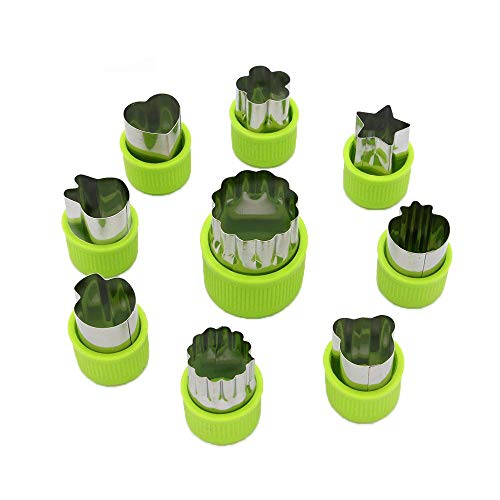 LENK Vegetable Cutter Shapes Set,Mini Pie,Fruit and Cookie Stamps Mold,Cookie Cutter Decorative Food,for Kids Baking and Food Supplement Tools Accessories Crafts for Kitchen,Green,9 Pcs (Boy Cookie Bouquet)