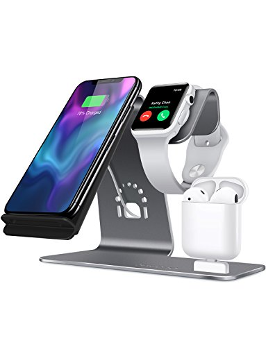 Bestand H05-Grey 3 in 1 Aluminum Apple iWatch Stand, Airpods Charging Station, Qi Fast Wireless Charger Dock for iPhone X/8/7/6s Plus Samsung S8 and other Qi-Enabled Devices, Grey - Station Charger Stand