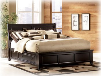 Ashley Martini Suite Contemporary King Panel Storage Bed In Sable Stain  Finish