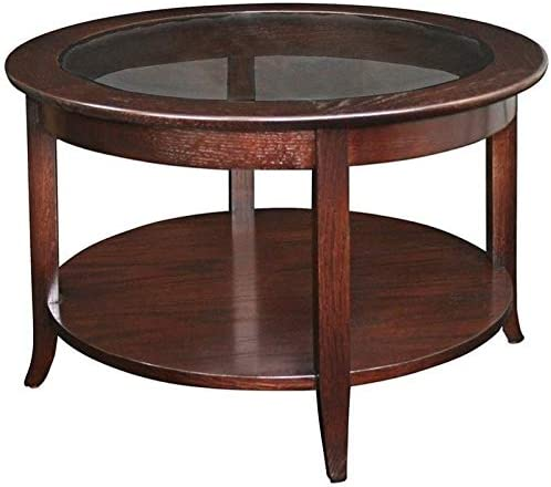 BOWERY HILL Solid Wood Round Glass Top Coffee Table in Oak
