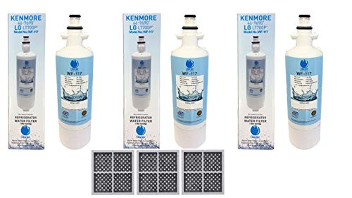 LT700P Refrigerator Water Filter Replacement for LG LT700P, ADQ36006101, ADQ36006102, KENMORE 469690, 9690, RWF1200A,3PACK