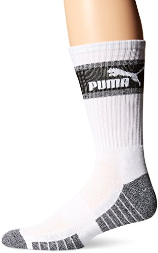 Puma 3 Pack Mens Crew Socks, white/black, 10-13
