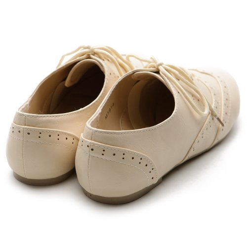 Dress Heel Low up Women's Flat Lace Ollio Beige Oxford Shoe Classic 86CXf
