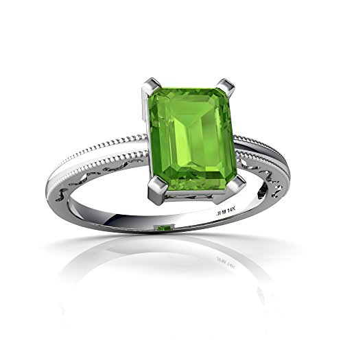14kt White Gold Peridot 8x6mm Emerald_Cut Milgrain Scroll Ring - Size 6