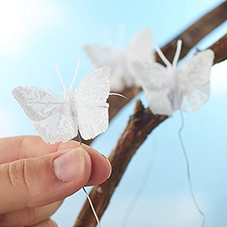 Factory Direct Craft White Glitter Accented Mini White Butterflies with Attached Wires 12 Butterflies