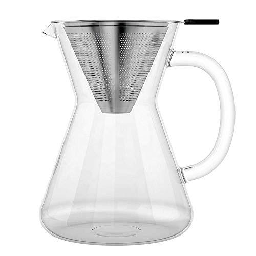 Cafetera Pour Over con filtro de café permanente de acero inoxidable sin papel y jarra de cristal de 400 ml, filtro…