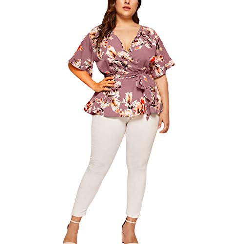 Botrong Women's Plus Size Casual V-Neck Short-Sleeved Printed Waist Belt Top (Purple,XXL)