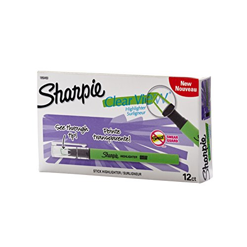 Sharpie Clear View Highlighter Stick, Green, Box of 12 (1950450) by Sharpie (Image #1)