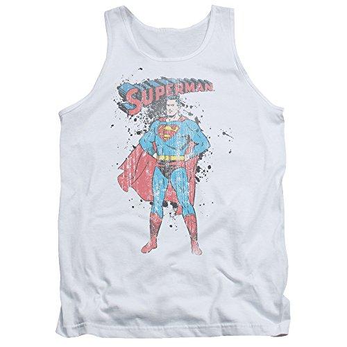 (Superman Vintage Ink Splatter Unisex Adult Tank Top for Men and Women, Medium White)
