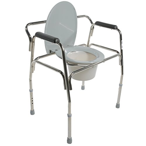 Pcp Heavy Duty Bariatric Commode Toilet with Wide Steel Frame, Chrome by PCP