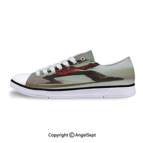 Low Top Rubber Sole Canvas Shoes Bass Headbanging Hipster Rock Display Sneaker ()