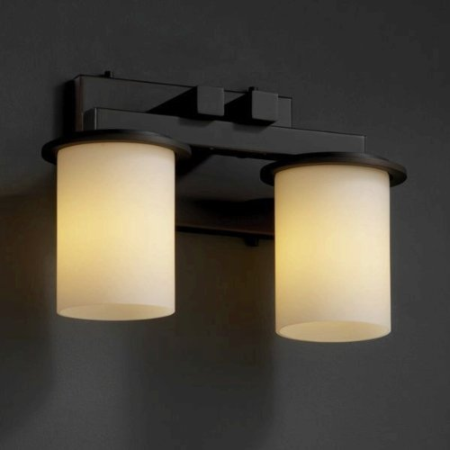 Justice Design FSN-8772-10-WEVE-MBLK Dakota Two Light Straight-Bar Bath Bar, Glass Options: WEVE: Weave Glass Shade, Choose Finish: Matte Black Finish, Choose Lamping Option: Standard Lamping (8772 Mblk Matte)