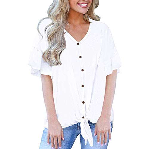 Short Sleeve Blouses for Women Casual V Neck Button Down Tie Front Knot Henley Loose Tops(White,L)
