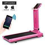 Goplus 1.5HP Electric Folding Treadmill Portable Motorized Running Machine Home Gym Cardio Fitness w/App (Pink)