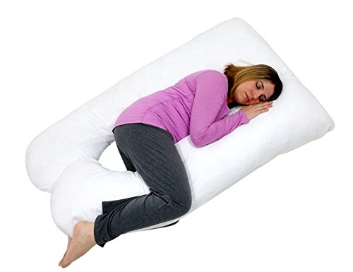 Review U Shaped Premium Contoured Body Pregnancy Pillow with Zippered Cover by Treasures2