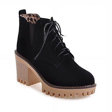 Fashion up amp; Boots Boots Spring Chunky Winter Ankle Lace Leatherette For Black Casual Heel Career Women's Shoes Toe Boots Round Booties Office HwIXCqSZCx