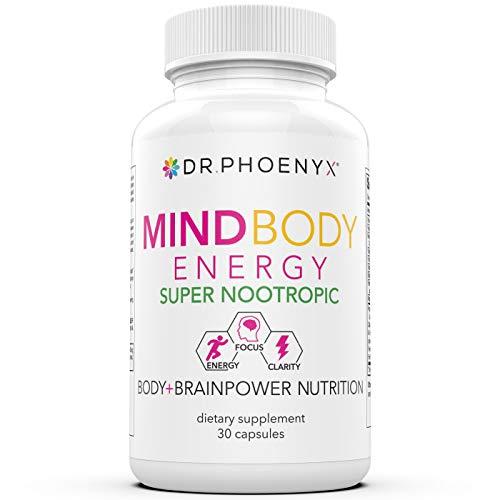 Dr. Phoenyx MindBody Energy Nootropic Brain Supplement - Premium Body & Brain Booster Supplement for Enhanced Focus, Energy, Clarity & High Performance - 30 Day