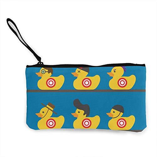 Women's Canvas Zip Around Wallet Ladies Clutch Travel Purse Wrist Strap Rubber Yellow Duck Art ()