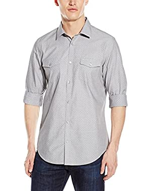Calvin Klein Men's Cool Tech Long-Sleeve Button-Front Shirt