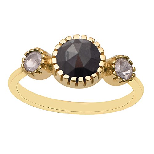 3-Stone Black Spinel With White Diamond 14Kt Yellow Gold Ring